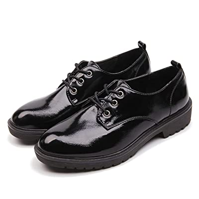 AIMEIGAO Women's Black Oxfords, Patent Leather Oxford Shoes for Women | Oxfords