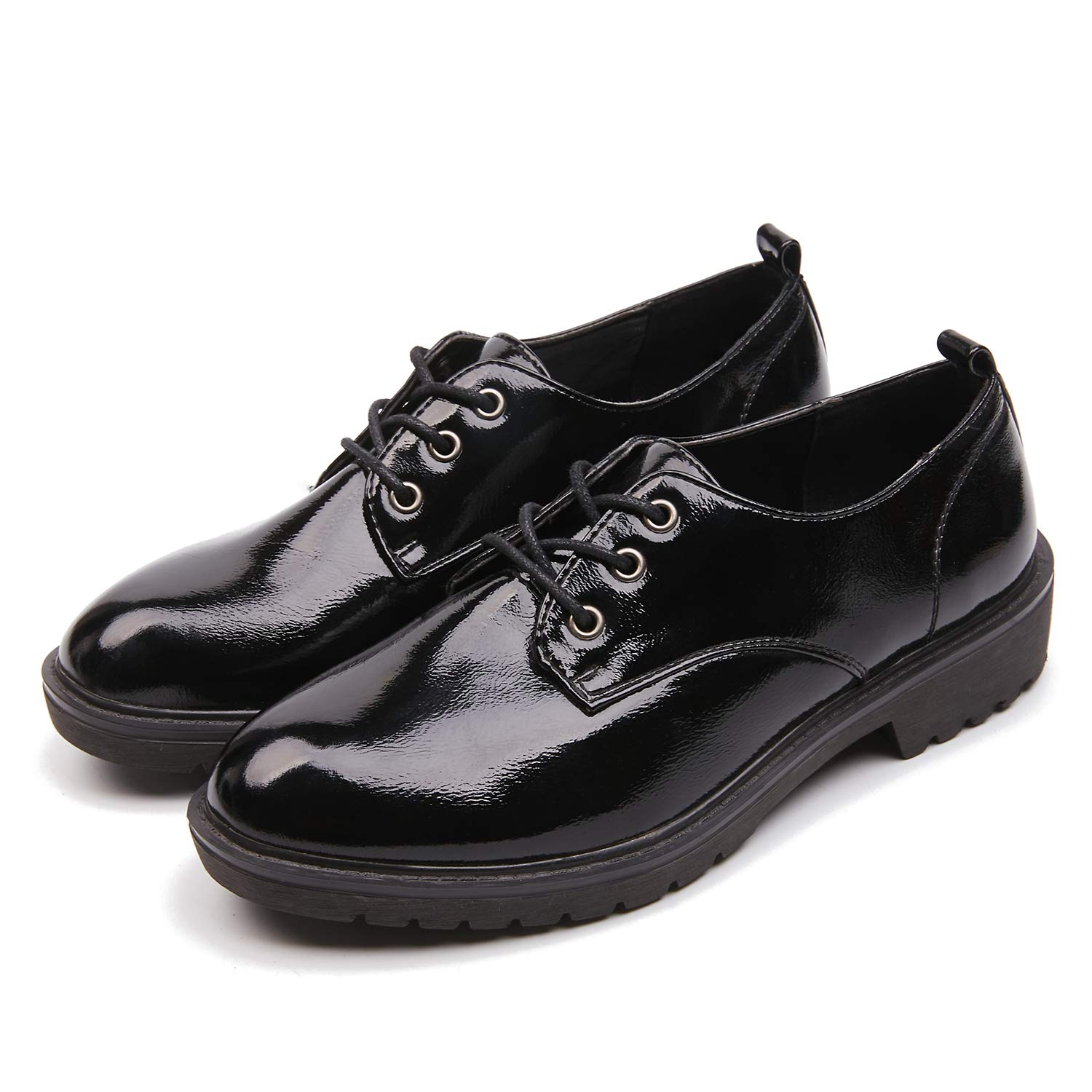 durable modeling new products coupon code AIMEIGAO Women's Black Oxfords, Patent Leather Oxford Shoes for Women