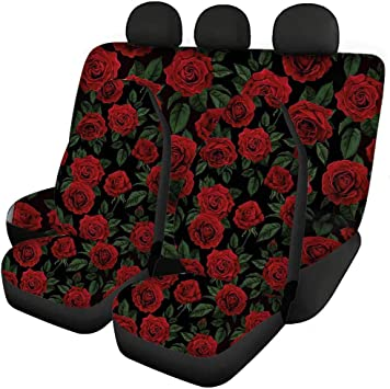 Belidome Stylish Rose Car Steering Cover Auto Accessories Stretchy Fabric Protector Durable Universal