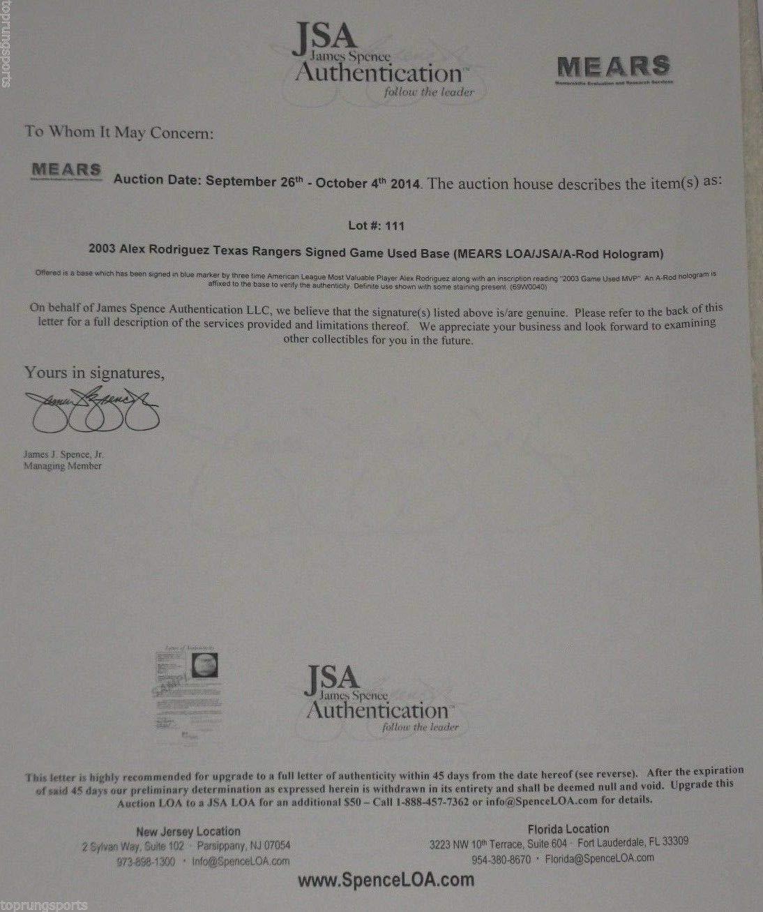 Alex Rodriguez Autographed Signed 2003 Rangers Game Used Base JSA Mears Coa