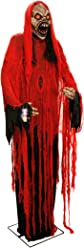 Halloween Haunters Giant 7 Foot Animated Standing Moving Scary Reaper Death Prop Decoration - Rubber Latex Evil Face, Red Light Up Eyes - Animatronic Head & Arm Motion - Haunted House Graveyard