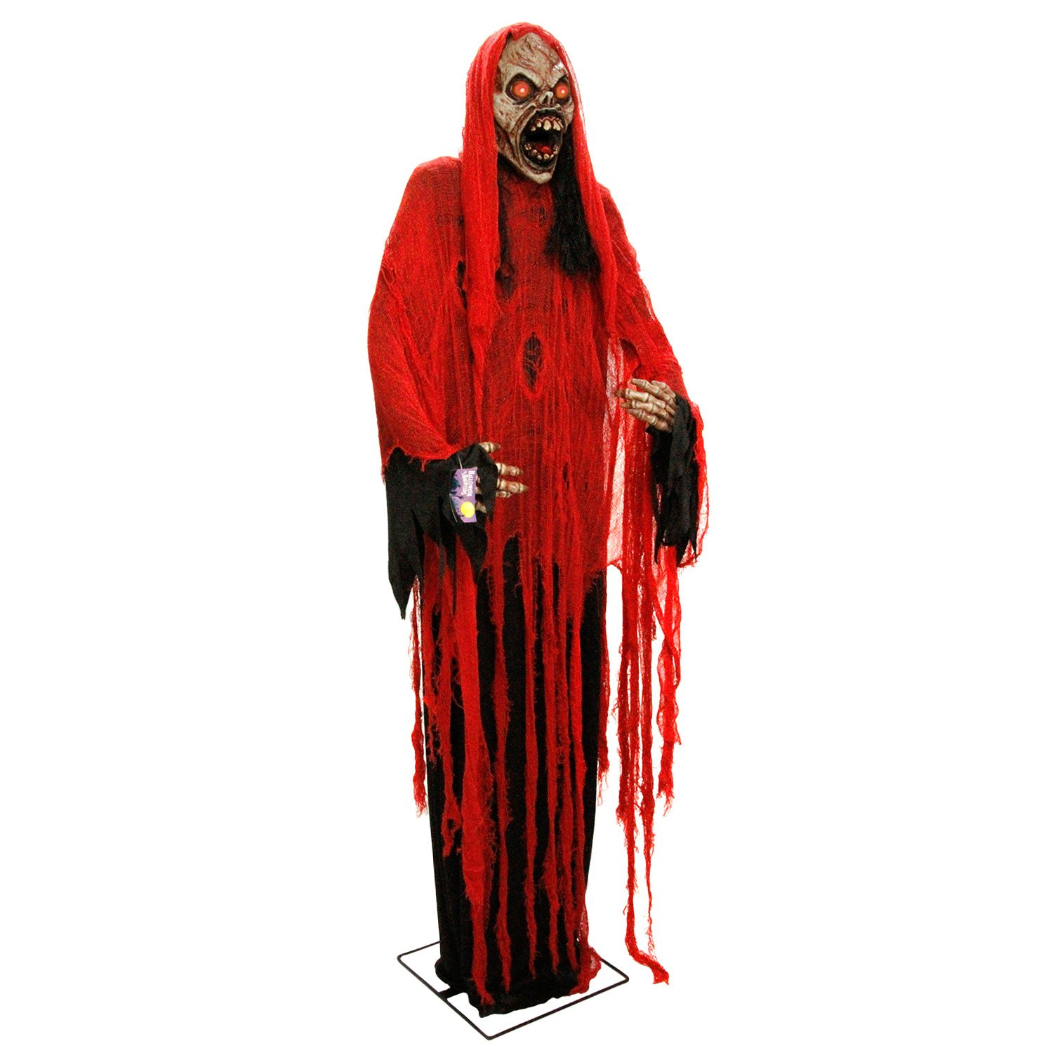 Halloween Haunters Giant 7 Foot Animated Standing Moving Scary Reaper of Death Prop Decoration - Rubber Latex Evil Face, Red Light Up Eyes - Animatronic Head & Arm Motion - Haunted House Graveyard