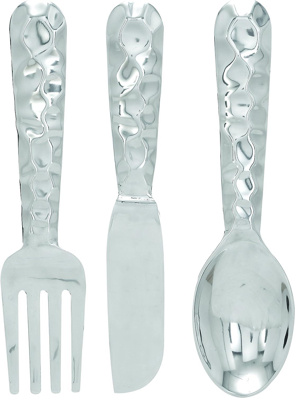 "Deco 79 Modern Oversized Metal Benzara 26169 Cutlery Wall Decor-Aluminium Utensil, 23"", 23"", 23"" and 23"" H, Sleek Silver Finish, Set of 3"