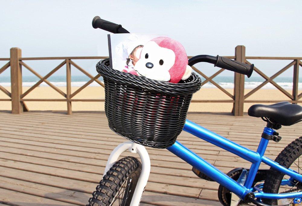 Colorbasket Front Handle Bar Kids Bike Basket, Water Resistant, Leather Straps