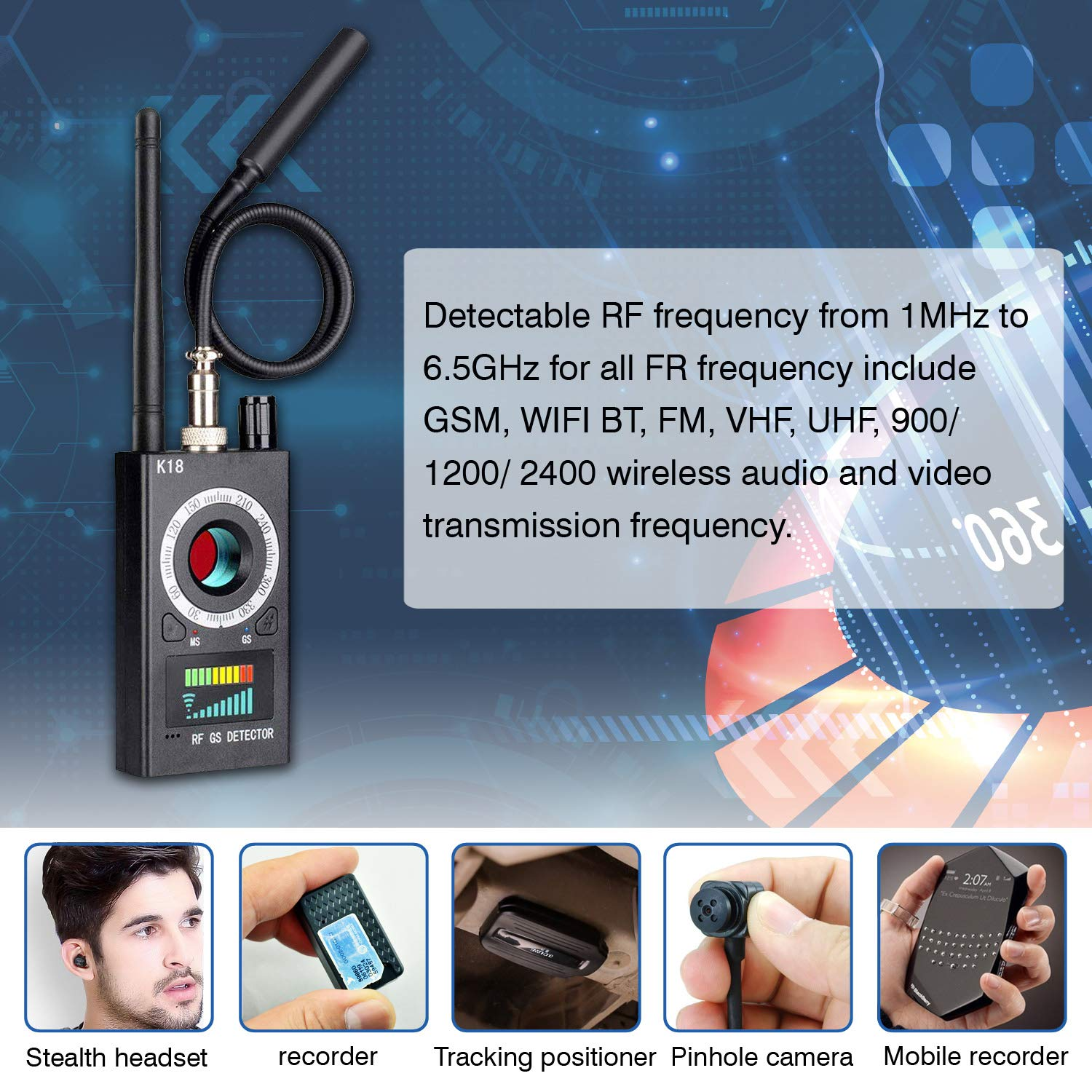 Anti Spy Detector & Camera Finder RF Signal Detector GPS Bug Detector Hidden Camera Detector for GSM Tracking Device GPS Radar Radio Frequency Detector by techtop (Image #7)