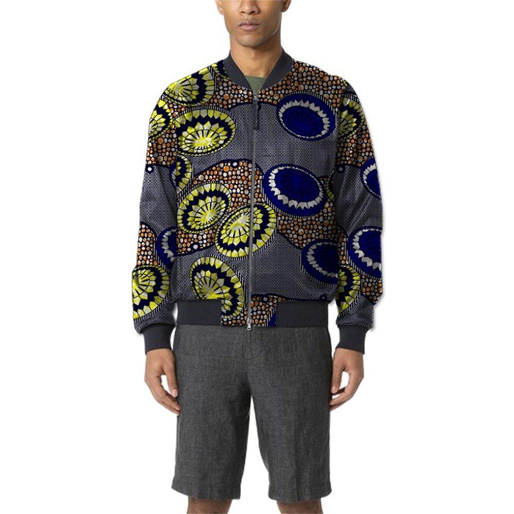African 2018 Men's Bomber Jackets Aviator Coat Zip Suit Dashiki Vintage Clothing Wear 2 2x