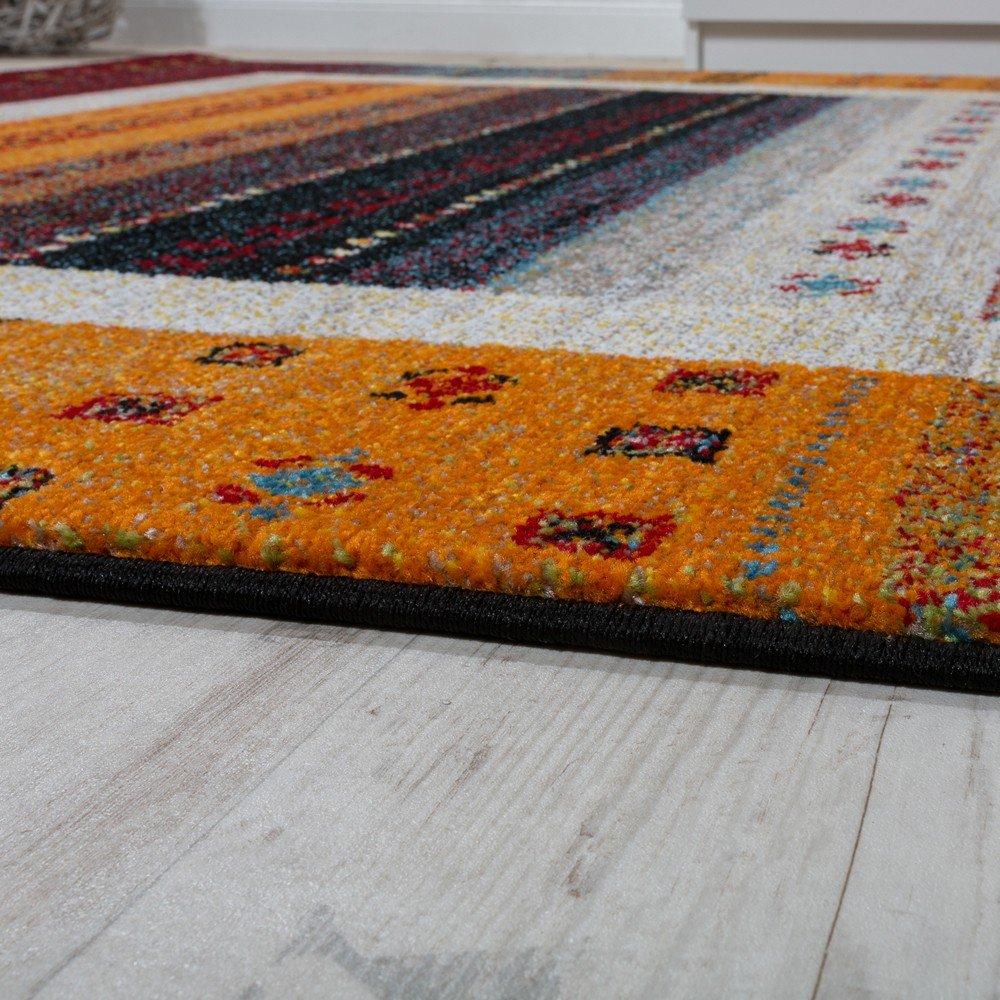 Paco Home Home Home Designer Teppich Modern Loribaft Nomaden Bordüre Gemustert Gabbeh Optik Rot Bunt, Grösse 120x170 cm 2034ed