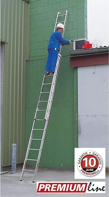 Euro Line aluminio profesional correderas escalera 2 piezas – PREMIUM LINE 10 peldaños – Longitud 4,95 m 100% aluminio, 4,95 m, altura de trabajo 6,15 metros: Amazon.es: Bricolaje y herramientas