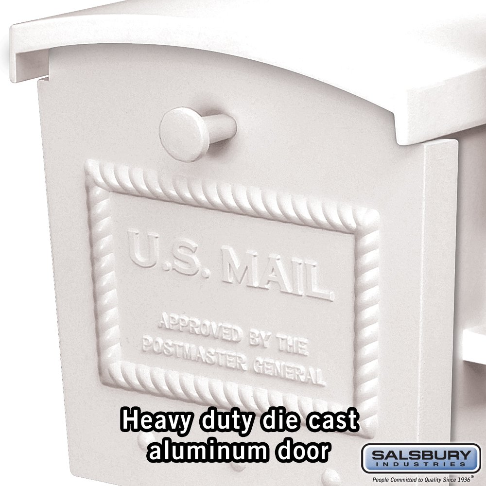 Salsbury Industries 4550WHT Townhouse Post Style Mailbox, White