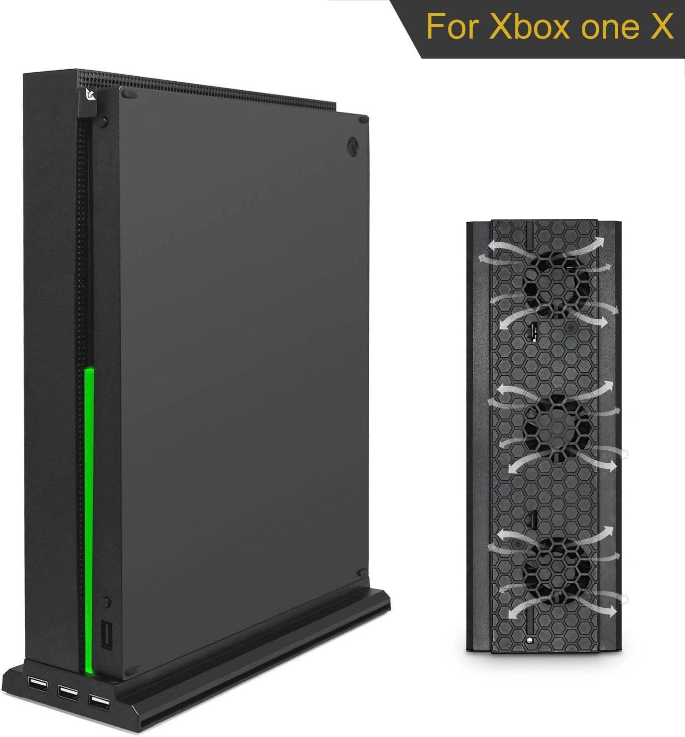 Soporte Vertical xbox One X, KONKY xbox One x Ventilador con 3 Puertos USB 2.0 y Barra de Iluminación LED para Xbox One X Console Negro(No para Xbox One /S): Amazon.es: Videojuegos
