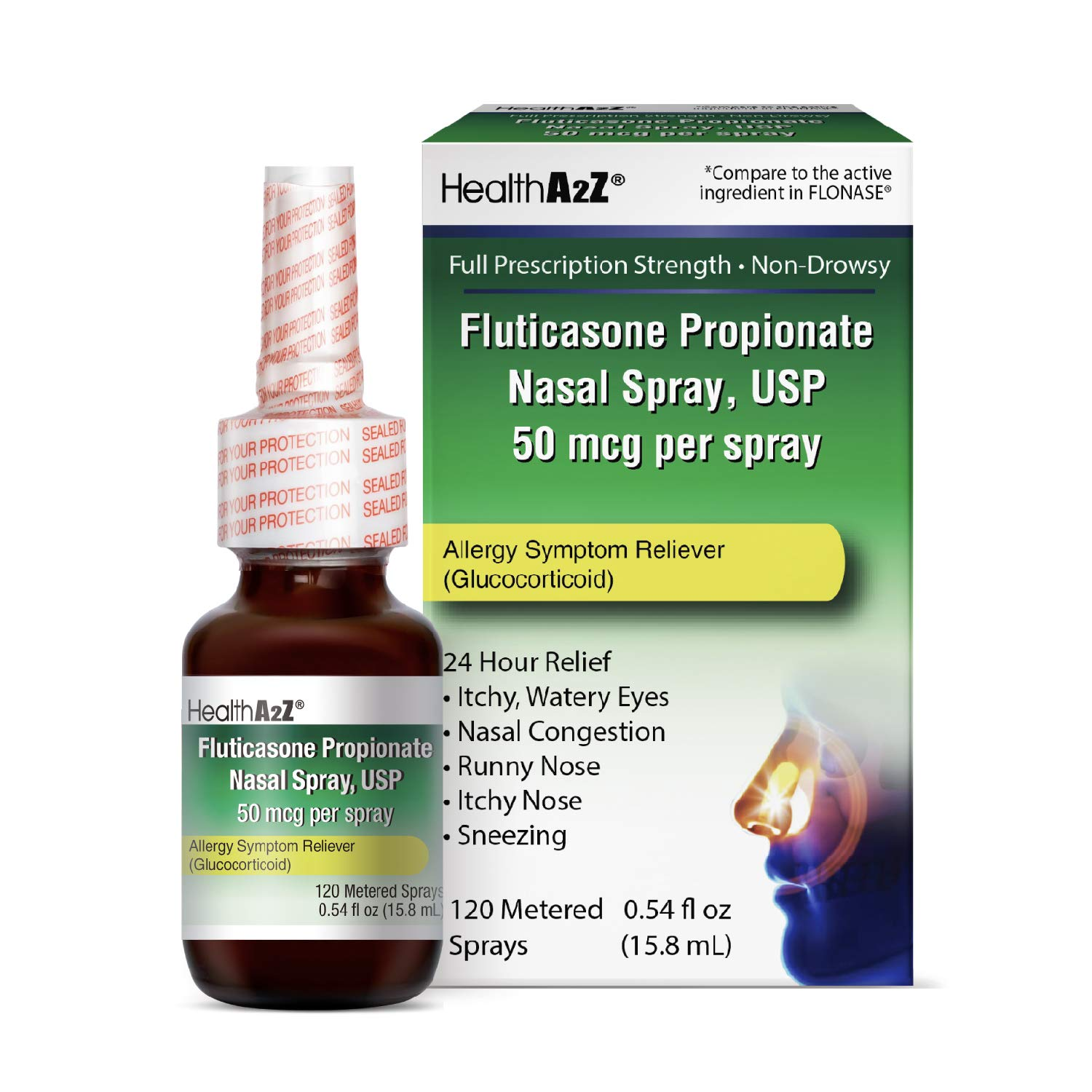 HealthA2Z Fluticasone Propionate Nasal Sprays, 24 Hour Allergy Relief,120 Sprays, 0.54 fl oz by HealthA2Z