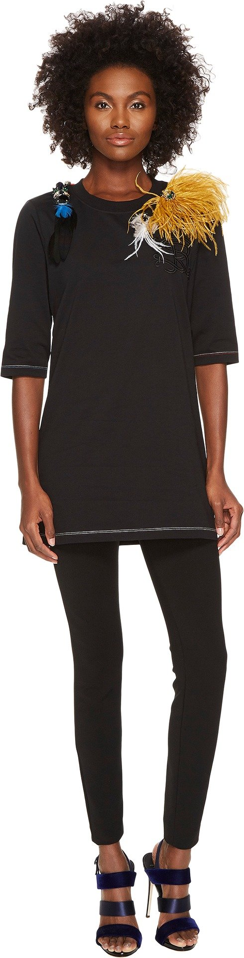 Sonia Rykiel Women's Runway Embroidered Cotton Jersey w/ Feathers Tee Black Large by Sonia Rykiel (Image #1)
