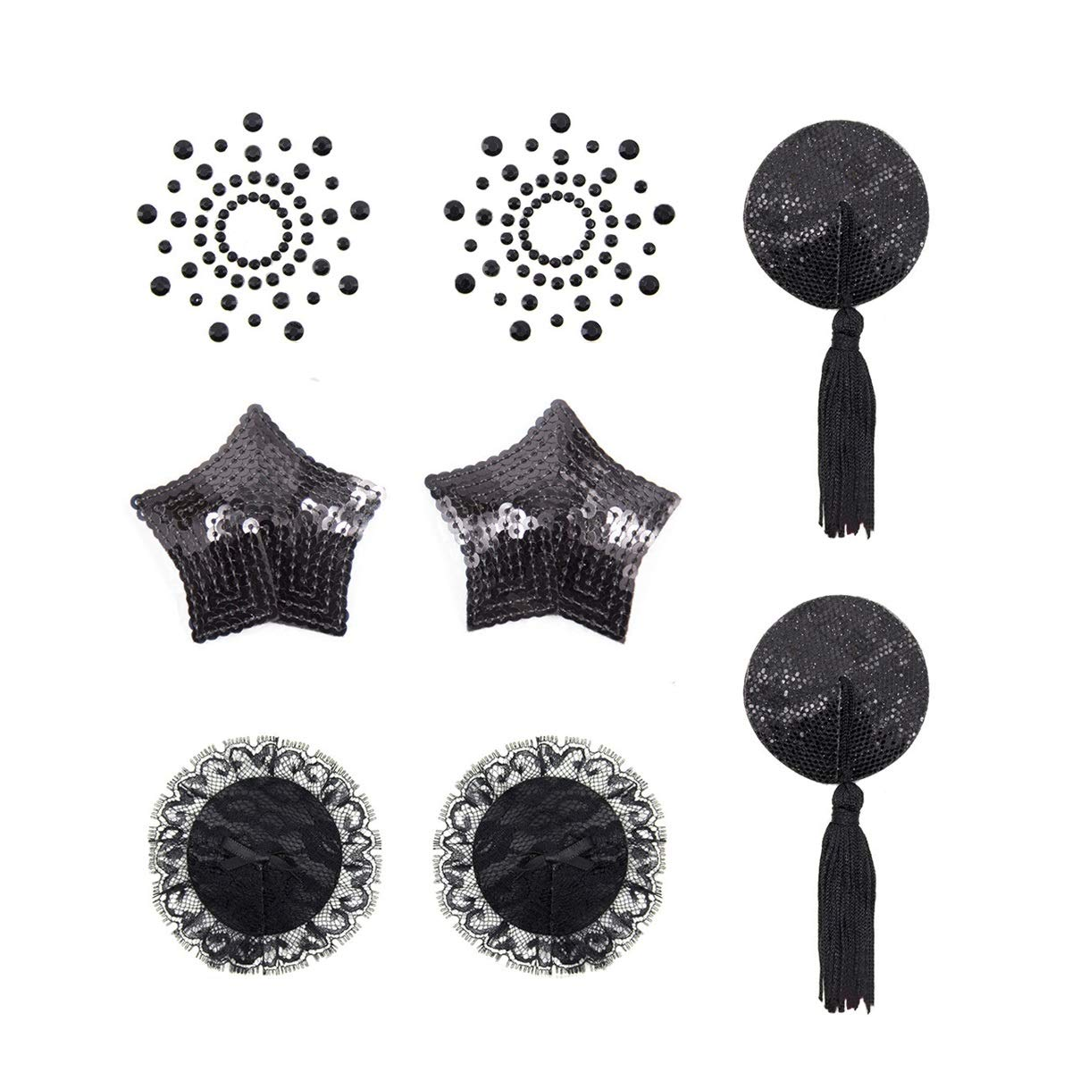 Black White Heart Nipple Covers Stickers Adhesive Breast Petals Disposable 1pair