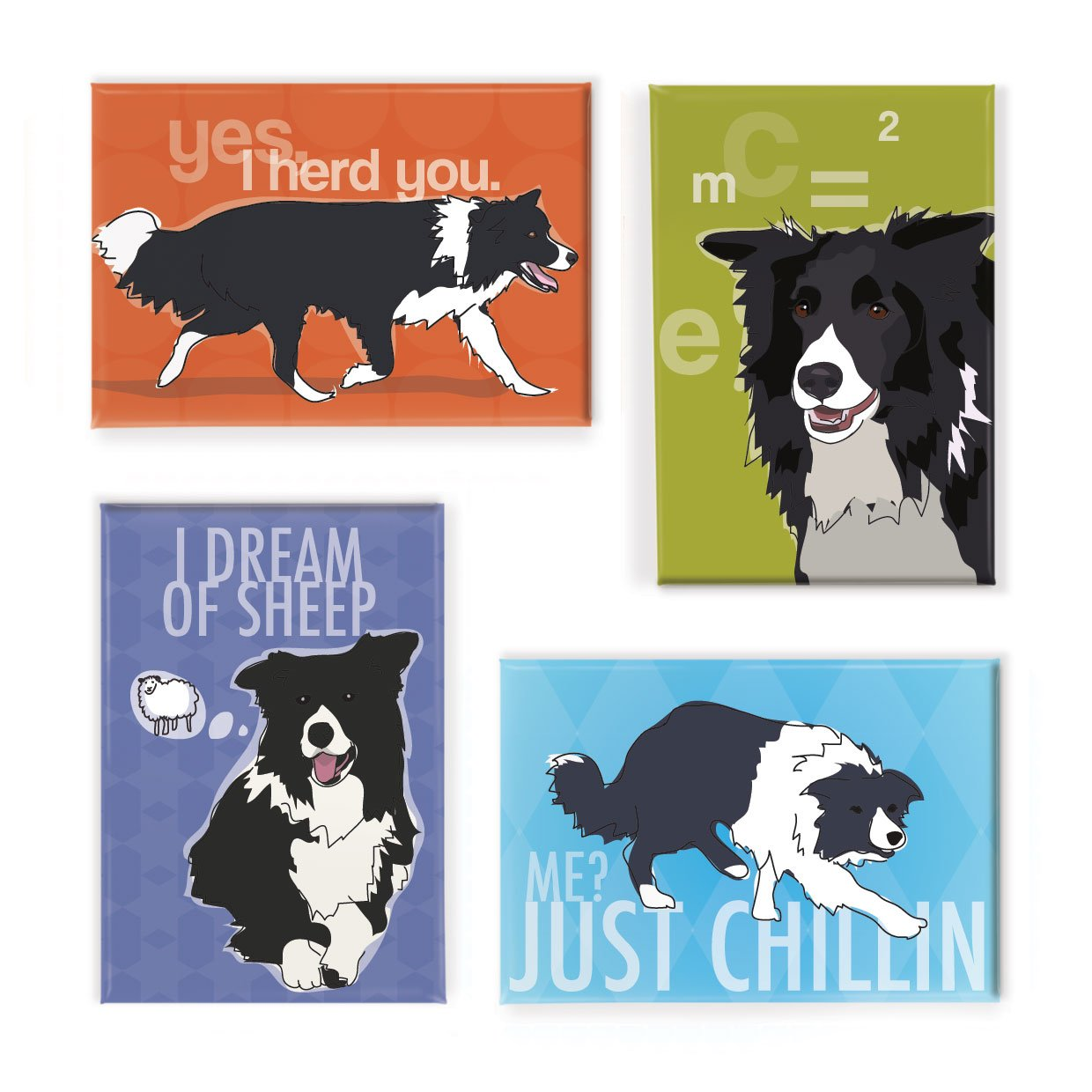 Pop Doggie Border Collie Refrigerator Magnets with Funny Sayings (Set of 4) by Pop Doggie