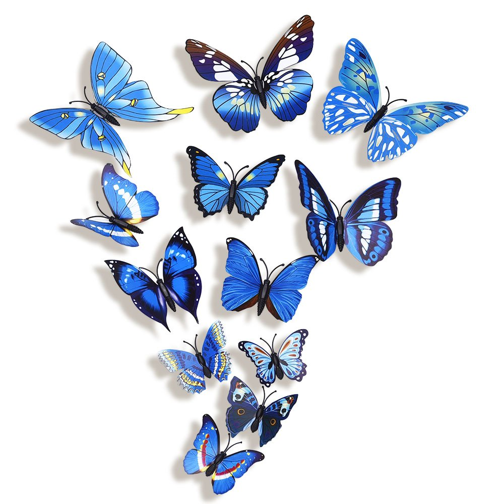 mudder 6 colors 3d butterfly removable mural stickers wall stickers decal for ebay. Black Bedroom Furniture Sets. Home Design Ideas