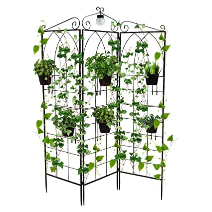 BEFFEE With LED Solar Light Black Metal Four Panel Folding Trellis Garden  Trellis For Climbing Plants