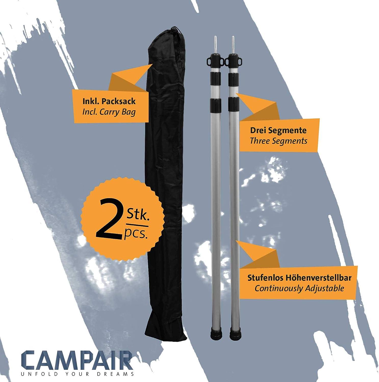 CampAir Poste Telesc/ópico de Aluminio 3 Secciones Regulable de 90-230 cm