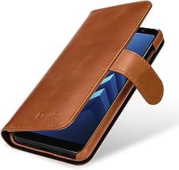 StilGut Housse pour Samsung Galaxy A8 (2018) Porte-Cartes en Cuir véritable à Ouverture latérale et Languette magnétique, Cognac
