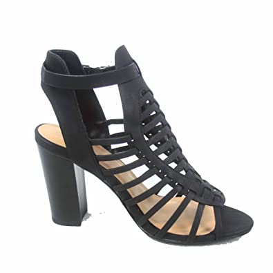 7661ffc43c Delicious Ibiza-s Women's Fashion Chunky Heel Strappy Ankle Strap Buckle Sandal  Shoes (6.5