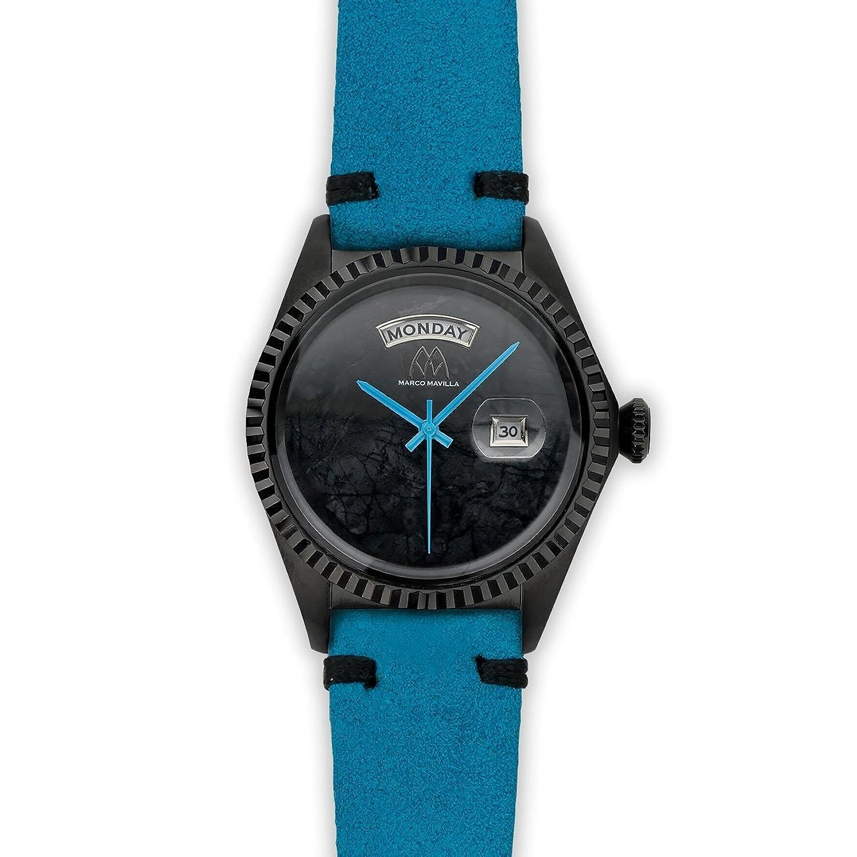 Watch Marco Mavilla Vintage Black Stone Jasper Suede Strap Blue Black