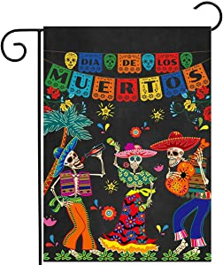 "Allenjoy Day of the Dead Garden Flag for Outside Vertical Mexican Fiesta Dia DE Los Muertos Banner House Lawn Banners Yard Porch Sign Patio Outdoor Decorations 12x18"" Double Sided Washable Polyester"