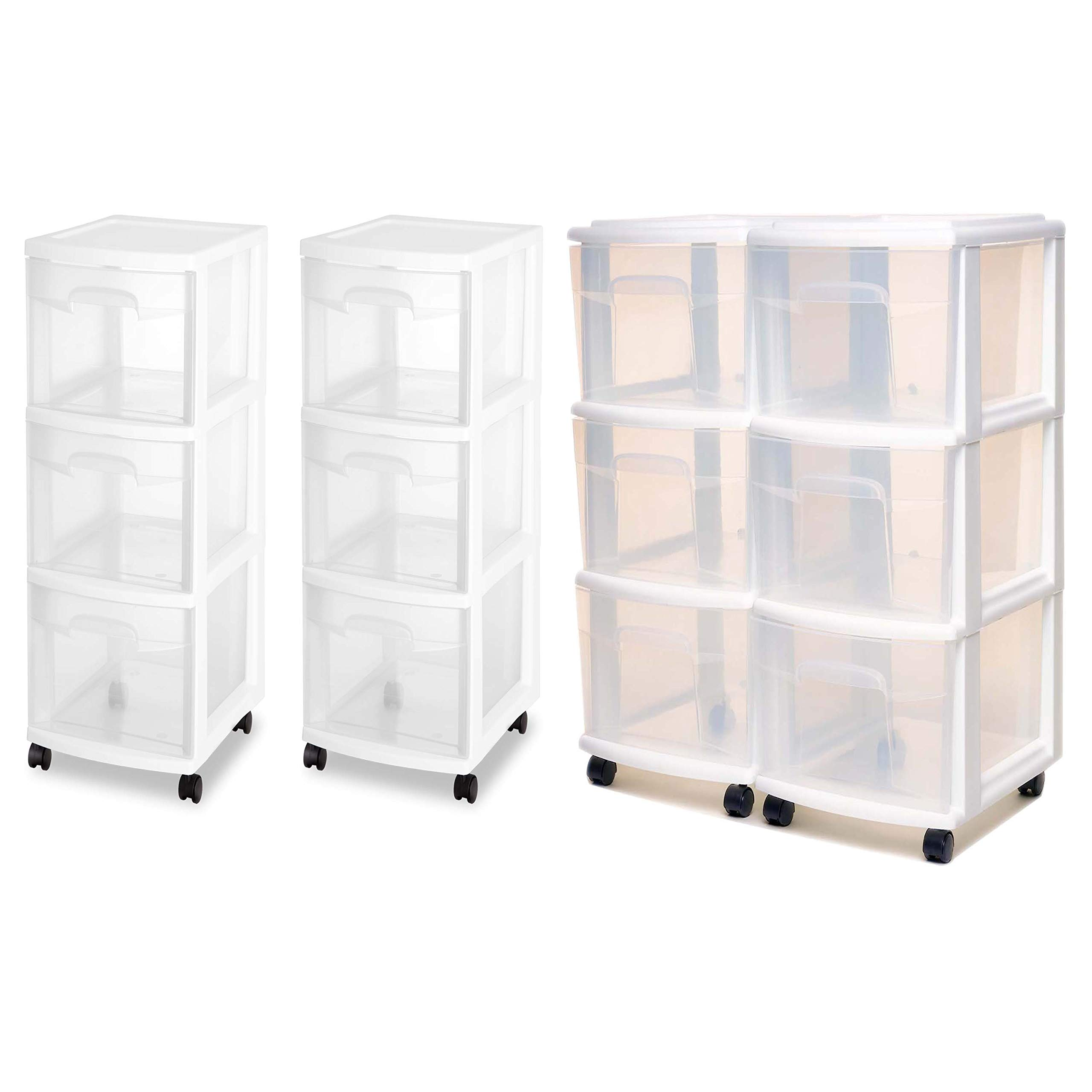 Homz 3 Drawer Medium Cart with Casters, Set of 2 Bundle with Sterilite, 3 Drawer Cart in 2-Count