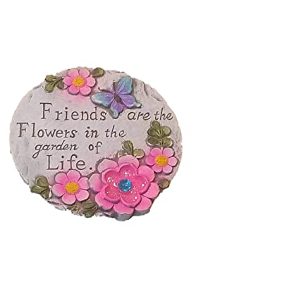 Round Decorative Stepping Stone with Inspirational Sayings for Outdoor Garden (Garden of Life) : Garden & Outdoor