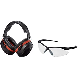 AmazonBasics Safety Ear Muffs Ear Protection, Black and Red, and Safety Glasses, Clear Lens