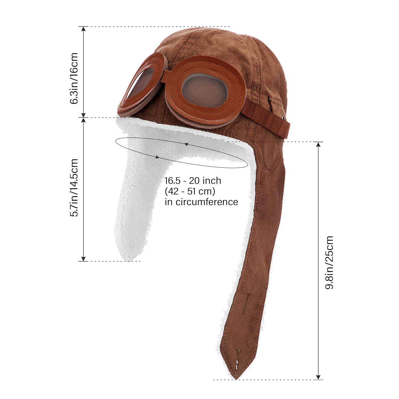 Pilot Hat for Kids Brown Fleece Pilot Cap with Earmuffs Warm Winter Cap for Kids