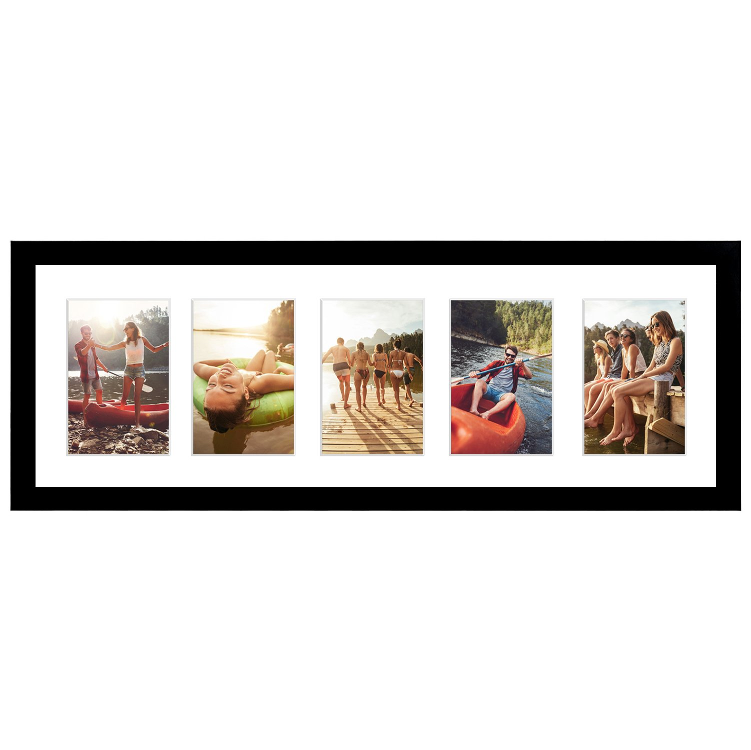 Americanflat 8x24 Black Collage Picture Frame - 5 Openings - Display 4x6 Photos - Panorama Frame by Americanflat
