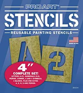 pro art 4 inch painting stencil set letters and numbers