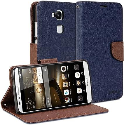 GMYLE Huawei Ascend Mate 7 Coque, Wallet Case Classic for Huawei Ascend Mate 7 MT7-L09 - Navy Blue & Brown Cross Pattern PU Cuir Étuis Flip Cover ...