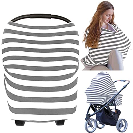 Premium Baby Car Seat Canopy Multi Use Breastfeeding Cover Up 360 Degree Privacy Cover Car Seat Cover Shopping Cart Covers Soft Breastfeeding Accessory