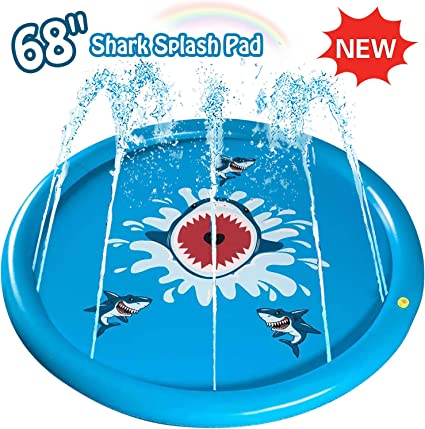 """Large 68/"""" Splash Pad Outdoor Toys for Kids,Sprinkler Water Toys for 2 3 4 5 Year"""