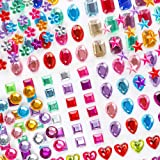 Holicolor 390pcs Rhinestones Stickers Self-Adhesive Muticolor Adhesive Jewels Stickers Crystal Gems Flatback Rhinestone for C