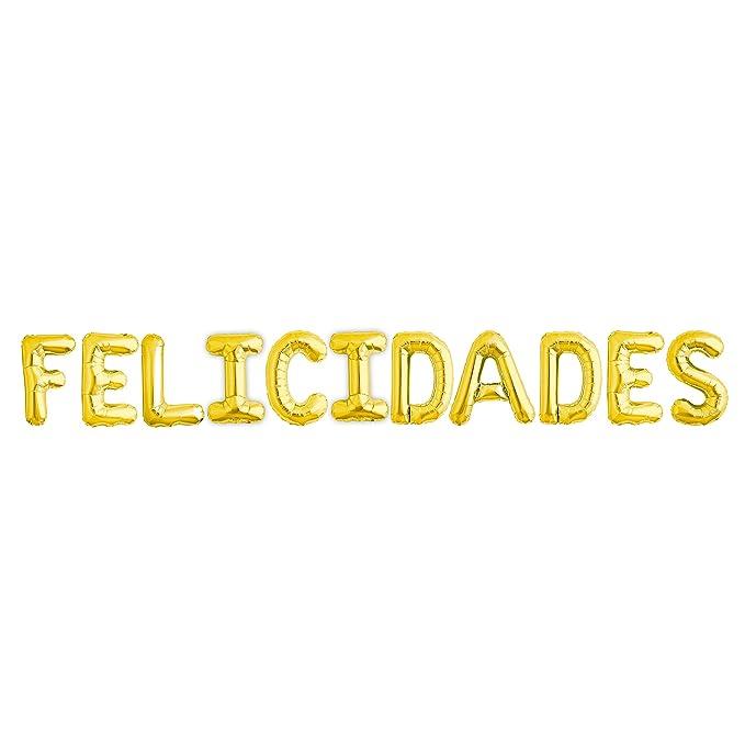 EuroFiestas Felicidades en Globos Foil de Poliamida Dorados
