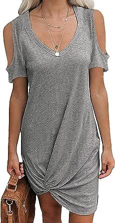 WHZXYDN Zomer vrouwen effen kleur Strapless Twisted T-shirt korte mouw jurk