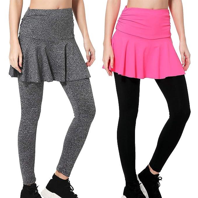 Amazon.com: Wantdo - Leggings ajustados con falda de ...