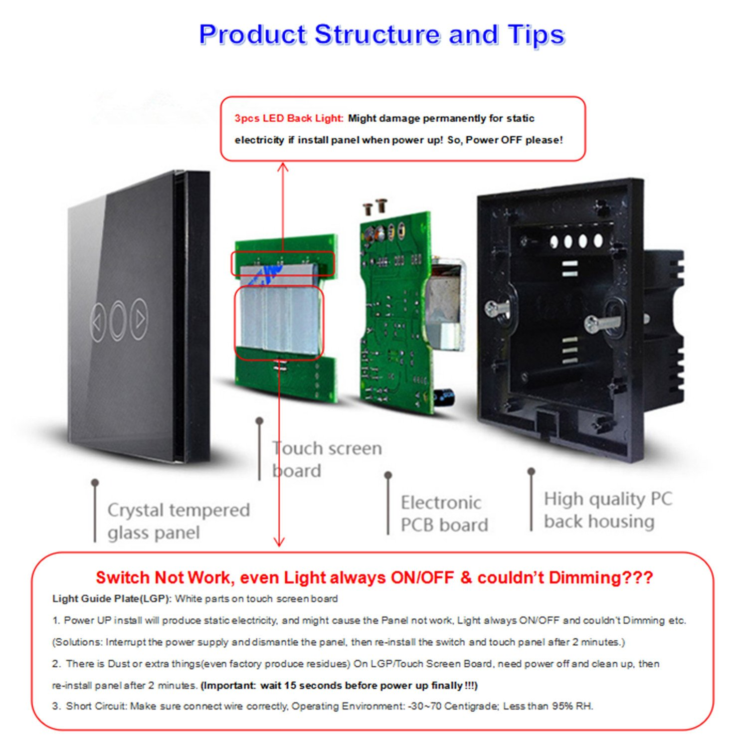 1 Way 1 Gang LED Dimmer Switch, [ with Remote Control + Luxury ...