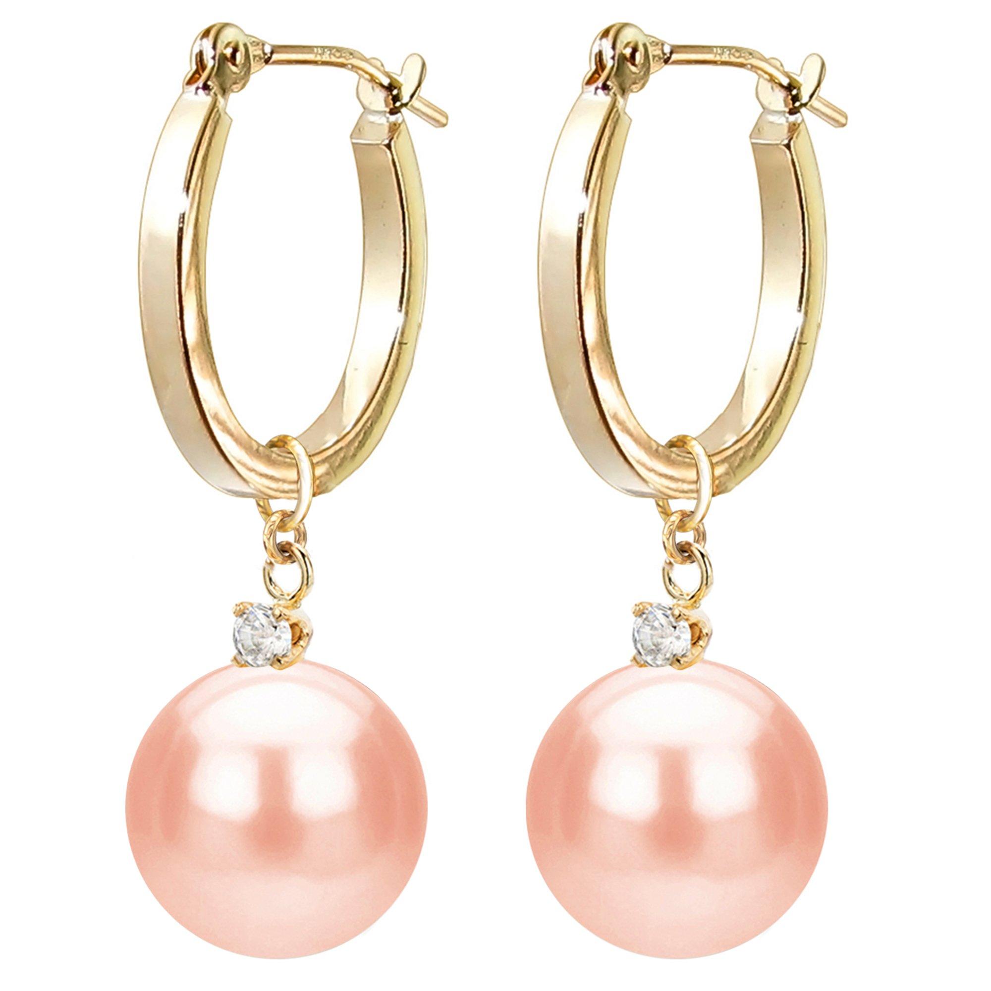 14k Yellow Gold 1/10cttw Diamond 8-8.5mm Pinkk Freshwater Cultured Pearl Dangle Earrings for Women Jewelry