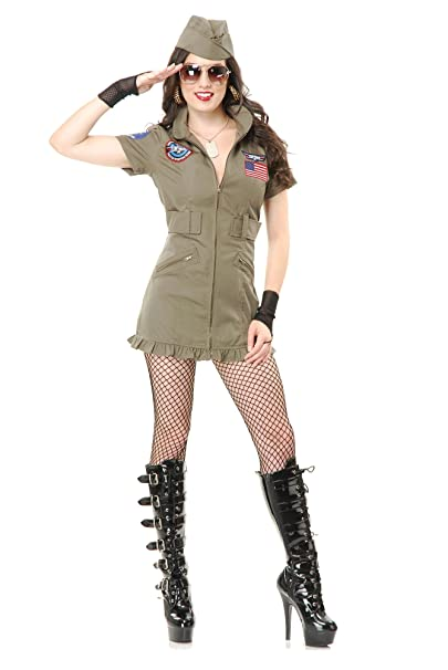 Amazon.com: Charades Mujer parte superior Gun Costume Dress ...
