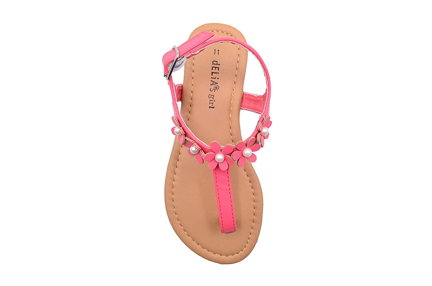 dELiAs Girls Fashion Sandals T Strap Summer Flat with Flower and Pearls