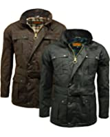 Men's 100% Waxed Cotton Game Continental Belted Biker Wax Motorcycle Jacket Coat