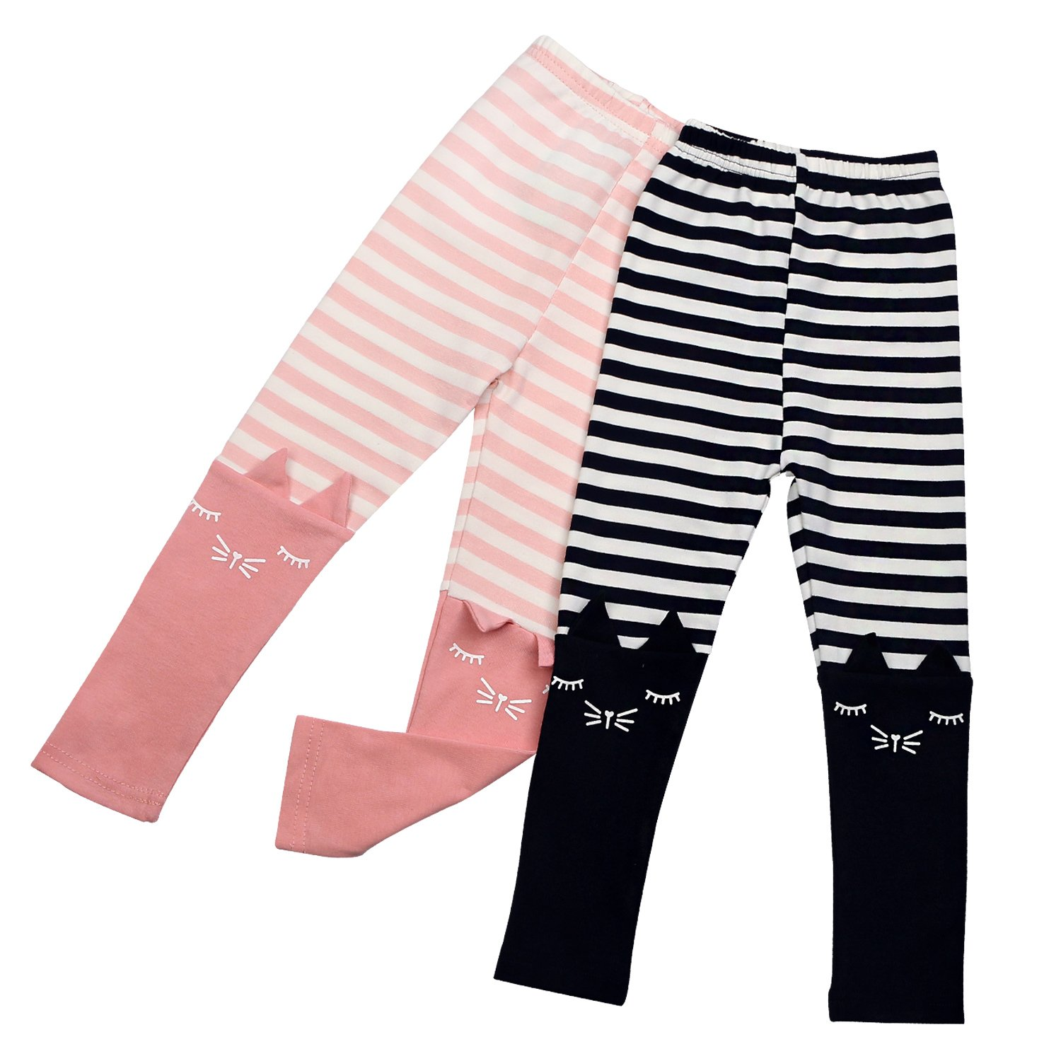 2 Pack Girls Pants Baby Toddler Girl Legging Cute Cat Striped Spliced Kids Pant Cotton Blended 5T by BOOPH (Image #1)