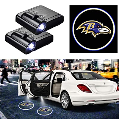 For Baltimore Ravens Car Door Logo Projector Light Ghost Shadow LED Courtesy Door Lights Fit for All Brands of Cars (2PCS): Automotive
