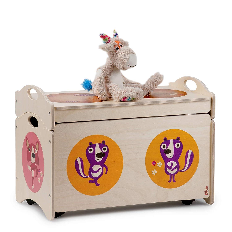 Panca portagiochi in Legno per Bambini Animali in Concerto nel Bosco Decoro Dida