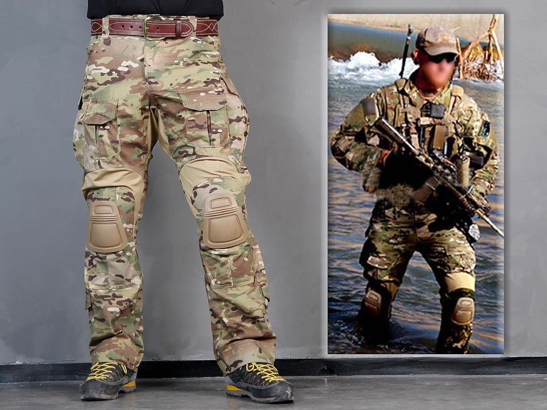 equipo táctico Pantalones de los Hombres de Paintball Airsoft Militar Combate Pantalones Gen3 Tácticas con Rodillera Multicam MC Military Outdoor