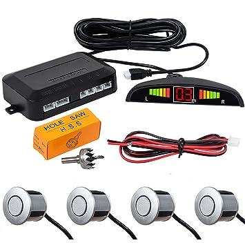 MASO [plata] Sensor de radar de aparcamiento de marcha atrás, 4 sensores LED
