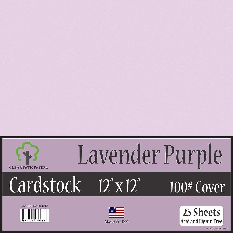 ラベンダーパープルカードストック - 12 x 12インチ - 100ポンドカバー 12 x 12 Inch - 25 Sheets パープル LAVENDER-100-1212 B076VR9LGG  12 x 12 Inch - 25 Sheets