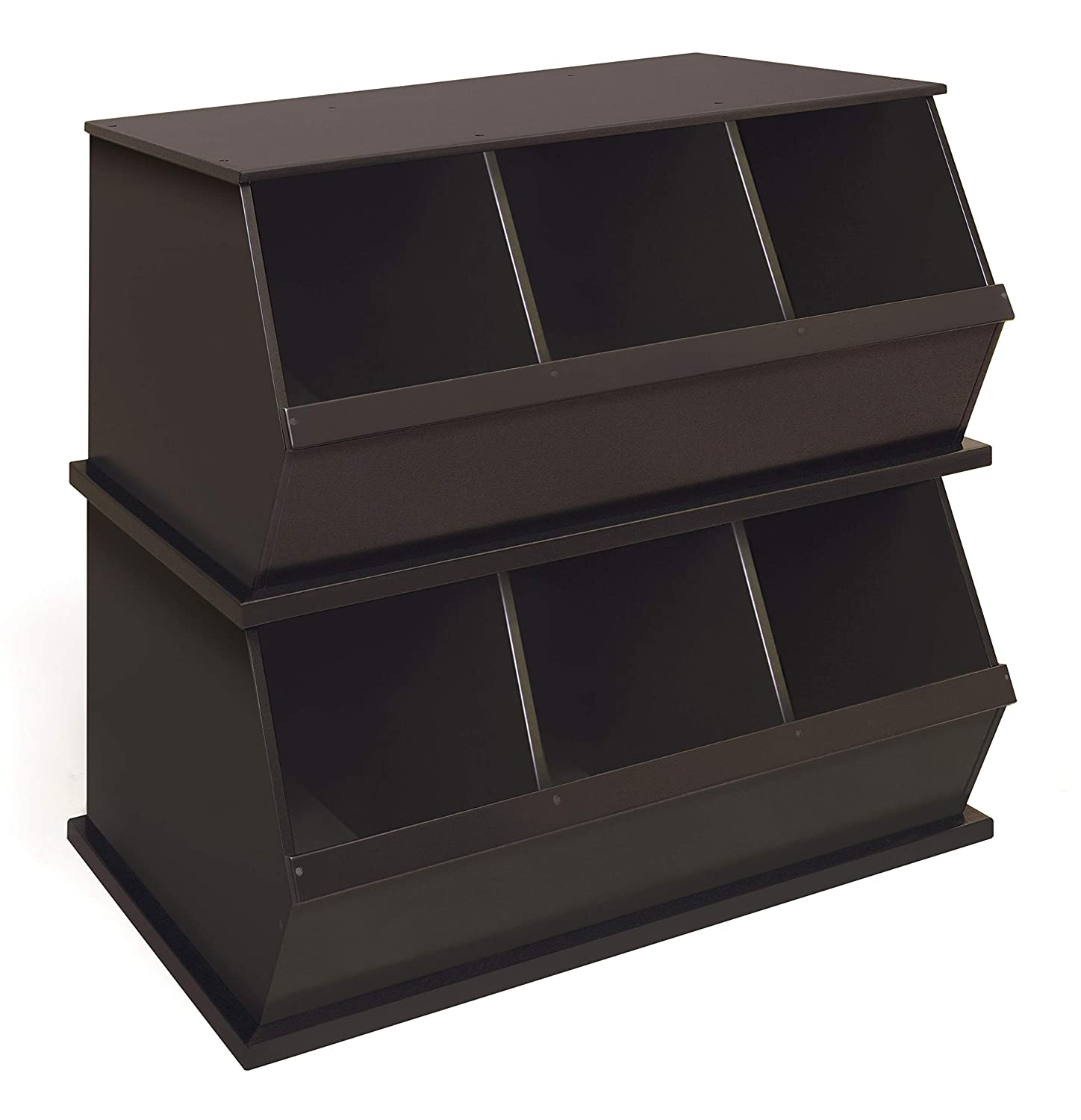 Stackable Wooden 3 Bin Open Storage Toy Organizing Cubby